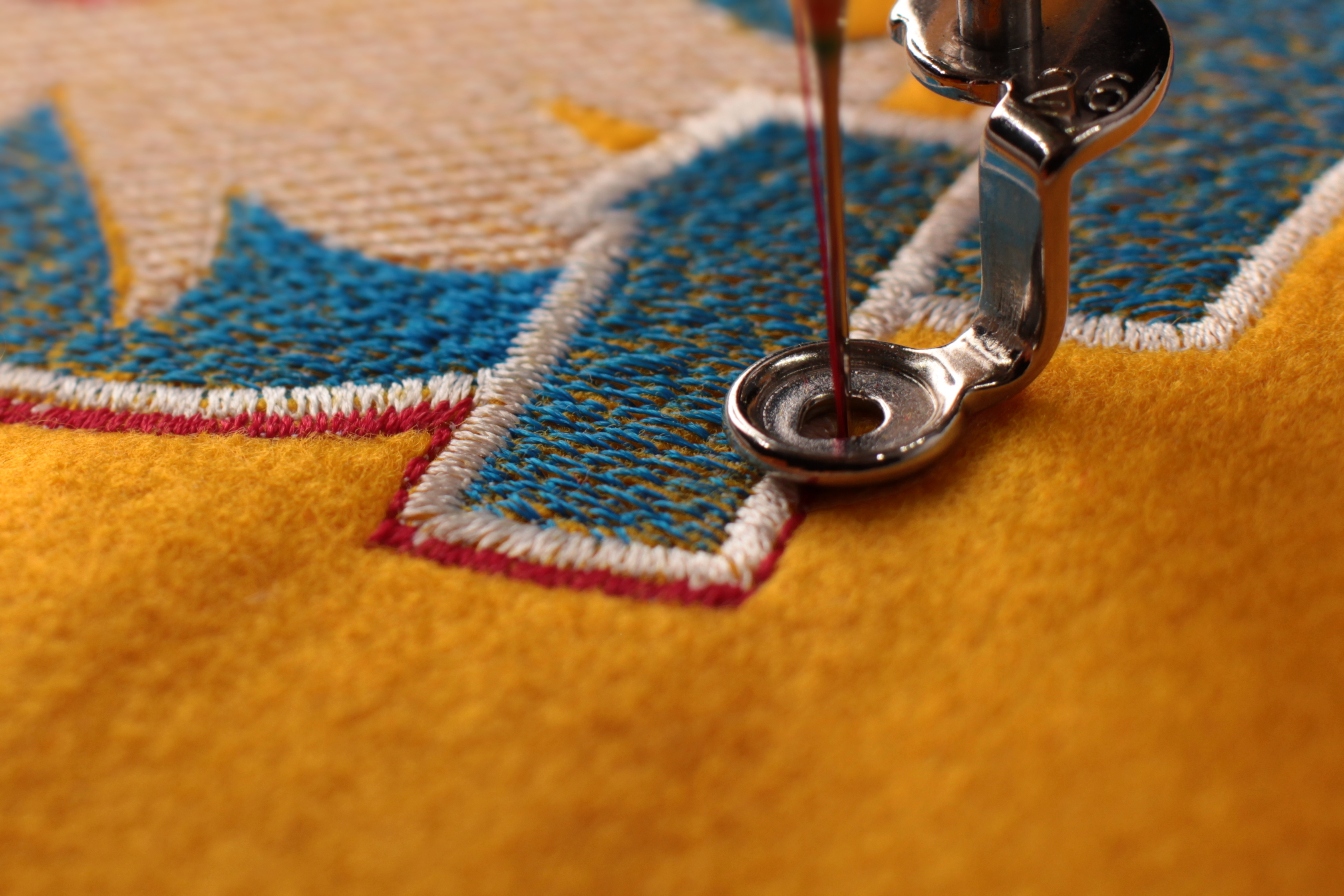 close up of embroidery